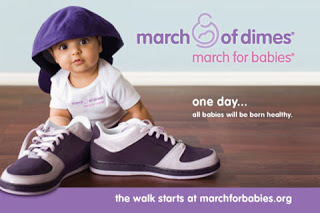 The Sentimental. Advertisement for March of Dimes. Photo of small child, wide-eyed wearing adult sized hat backwards, seated behind adult sized shoes. Use of soft colours including pink and purple.
