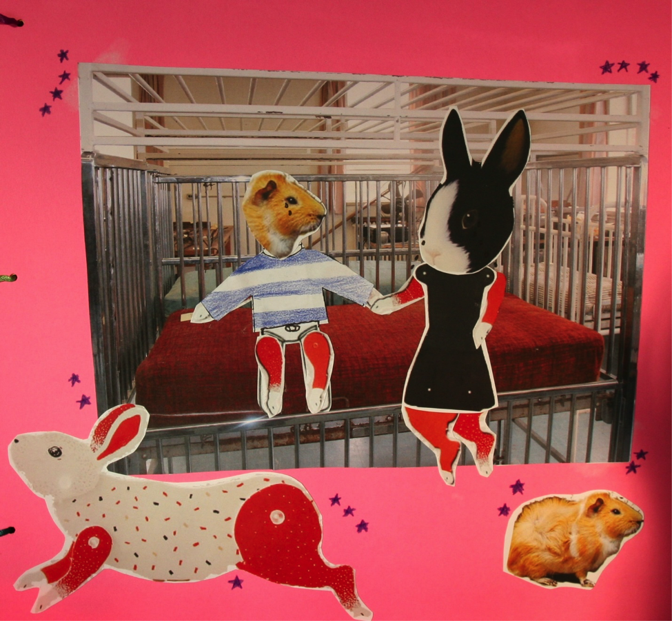 The background is hot pink, featuring at its centre         a photograph of a caged cot that was used at the Huronia Regional Centre.