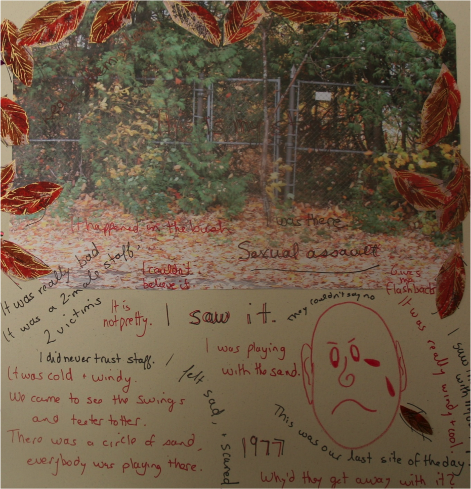The top half of this scrapbook page features a photograph         of a closed chain-link fence, covered in bush. There are dead autumn leaves         along the ground. The photograph is lined with a border of stylized red         and gold leaves.