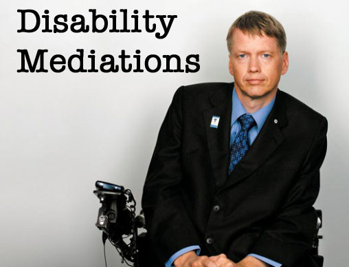 This image depicts Sam Sullivan, former mayor of Vancouver and subject of Nicole Markotic's essay in this theme issue of the CJDS.  Sullivan is shown from the waist up, sitting in an electric wheelchair, leading slightly to the left.